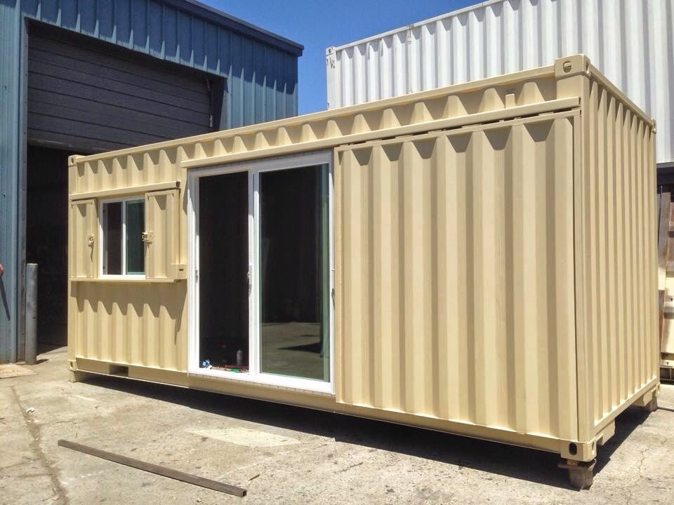 Container with Sliding Glass Door