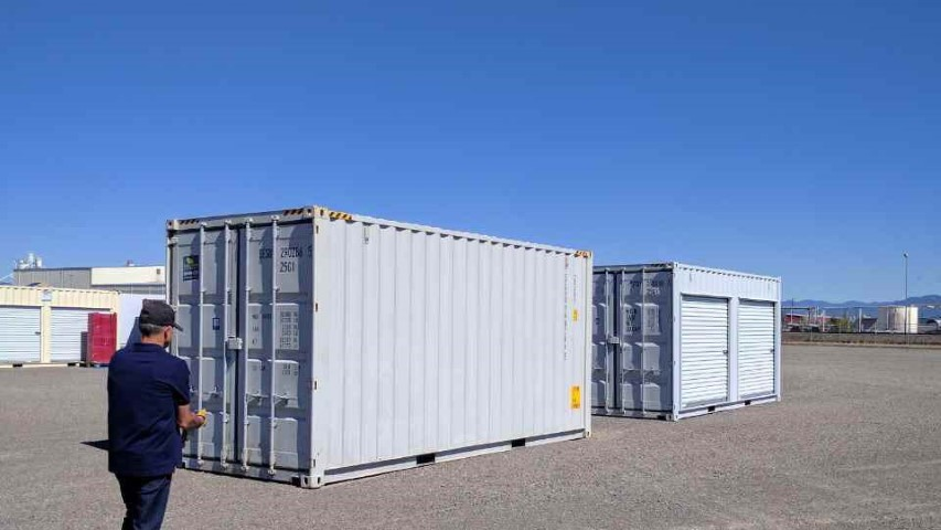 blue sky shipping container double storage container grey color new metal containers conexwest sign
