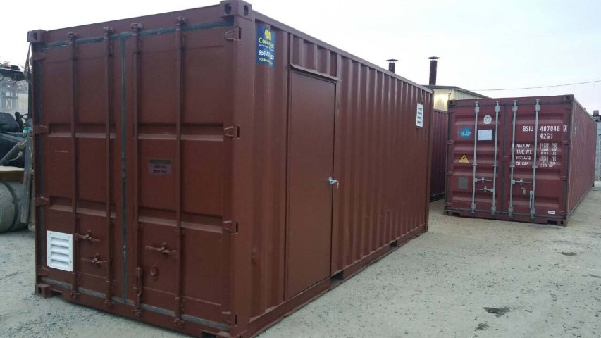 red brown shipping container storage container color red brown cargo doors cement floor