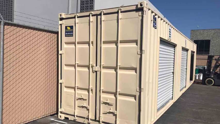 roll up door shipping container cream color storage container by facility