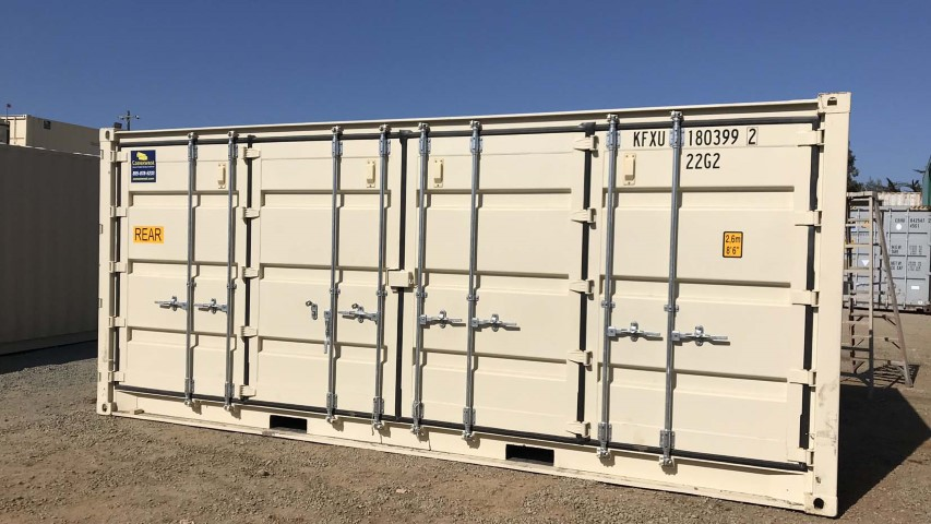 cargo side doors on shipping container storage container blue sky cream color metal container
