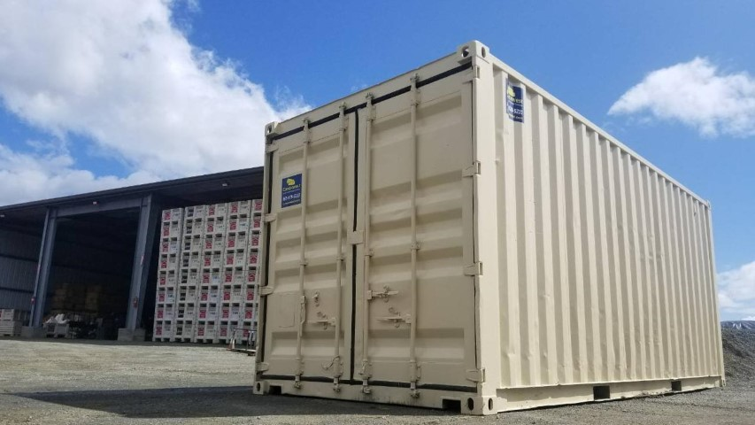 beige shipping container