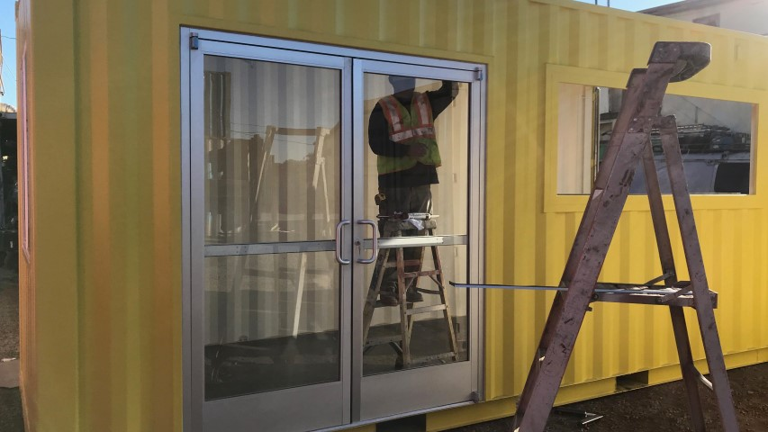 store front doors in shipping container