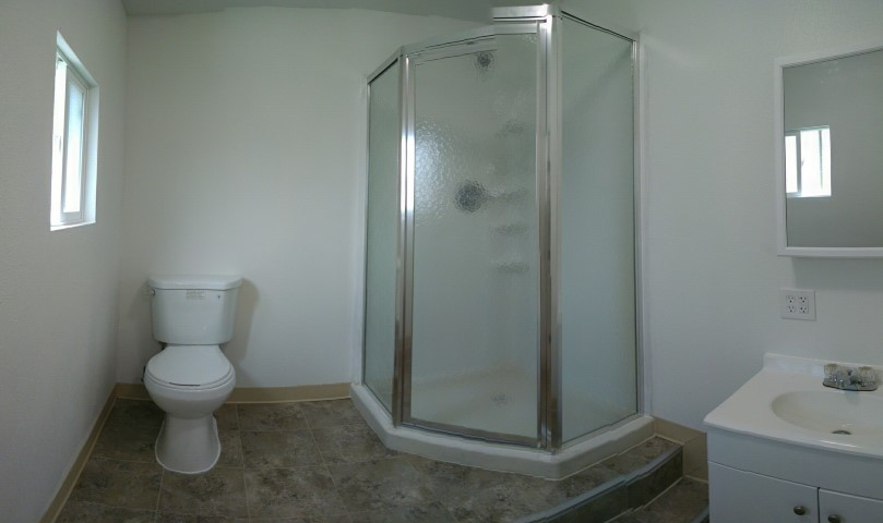 shower inside of shipping container