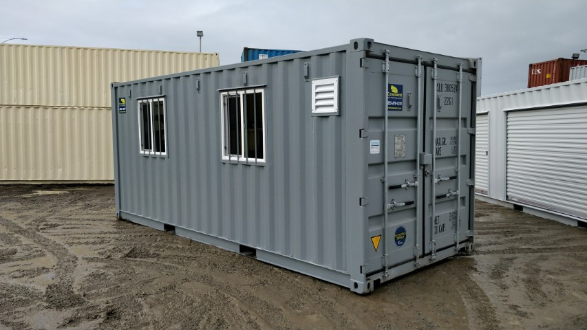 gray shipping container