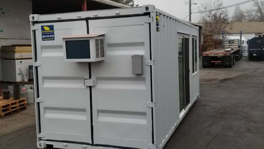 AC unit inside shipping container storage container cargo doors grey color shipping container storage container grey streets