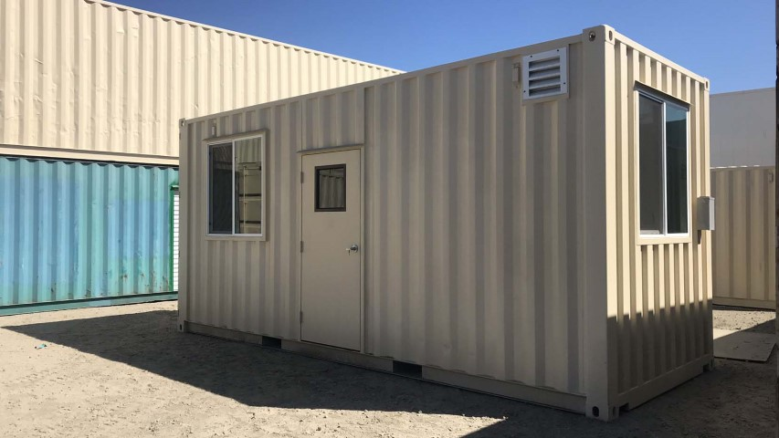 office container 20 foot cream color storage container shipping container with windows and man doors
