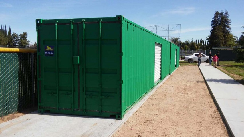 customized color shipping container green storage container with roll up door modified shipping containers school zone baseball field