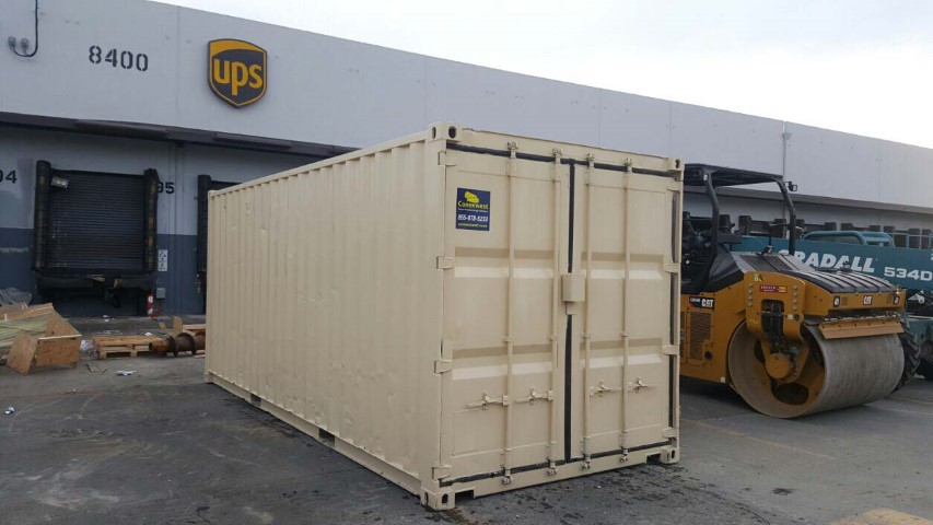 cream color ups shipping container storage container conexwest sticker cargo doors rolling machine