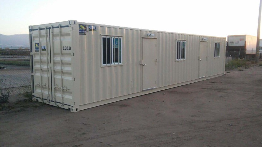 40 foot office container with window and man door shipping container storage container outside field