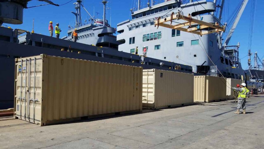 ship boat with storage container and shipping containers three metal containers dock shipping containers