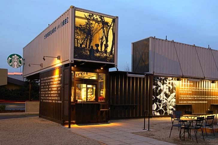 starbucks out of shipping containers