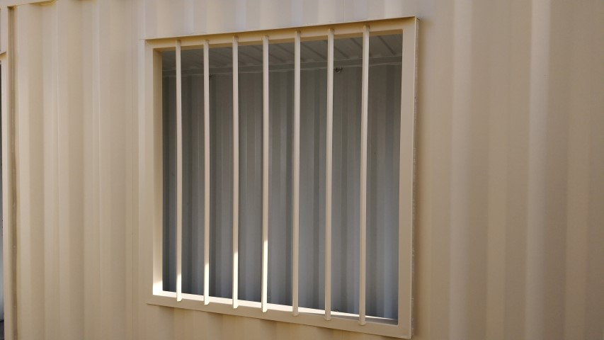 Window security bars for storage containers for sale