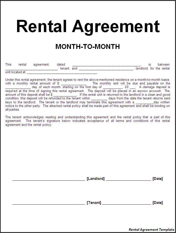 Rental agreement template