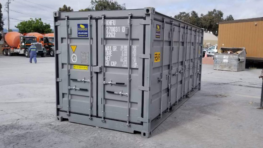 open side 20ft container gray