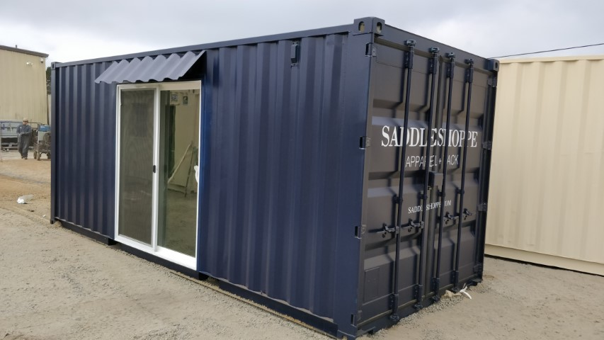 Vinyl logo on 6ft sliding door on shipping containers for sale