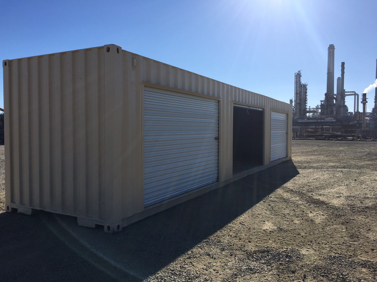 shipping container with roll up doors