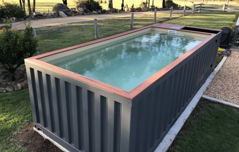 Shipping container swimming pool blue water conexwest