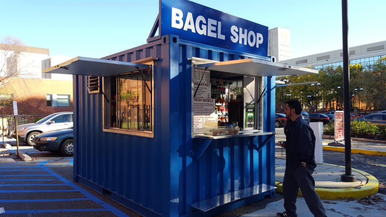Bagel shipping container pop up shop