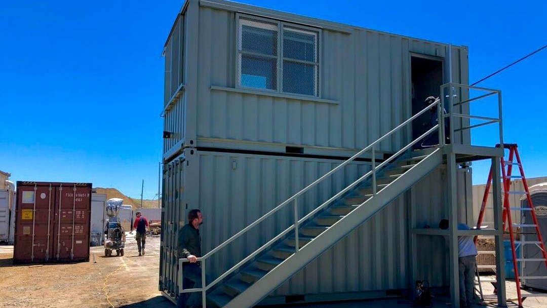 double stacked shipping container office