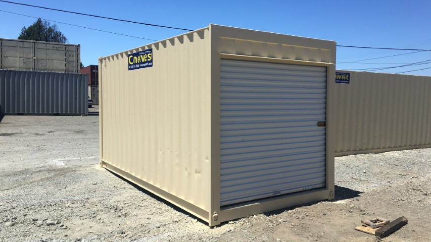 16' Beige storage container with roll up door for sale