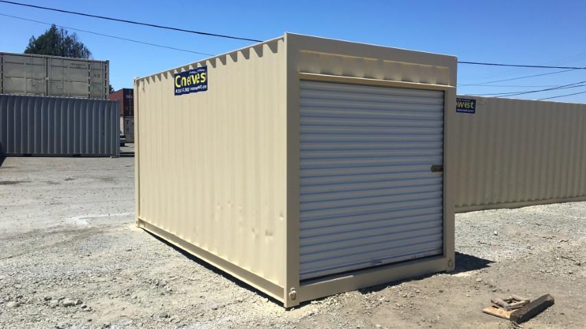 16' Beige storage container with roll up door for sale