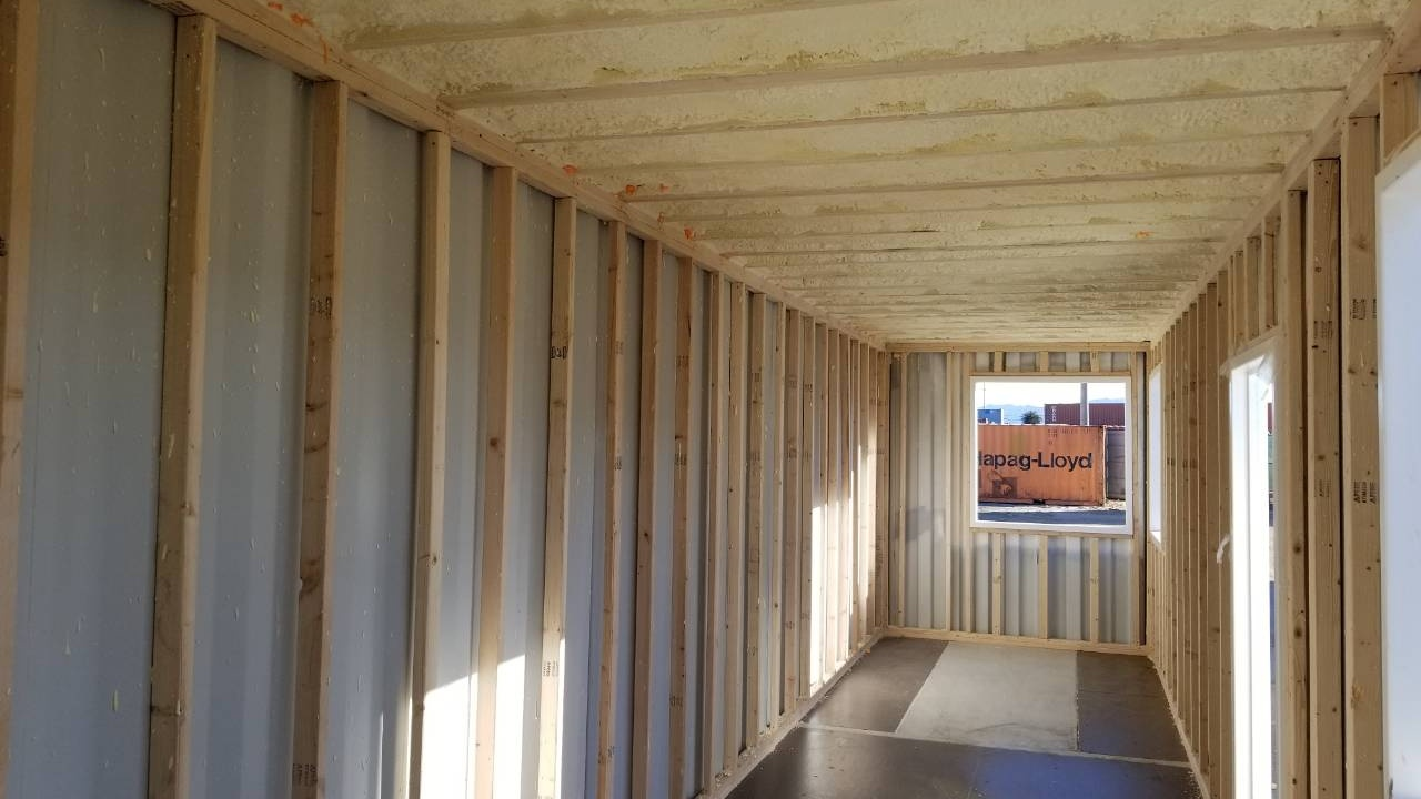 Foam insulation of shipping container