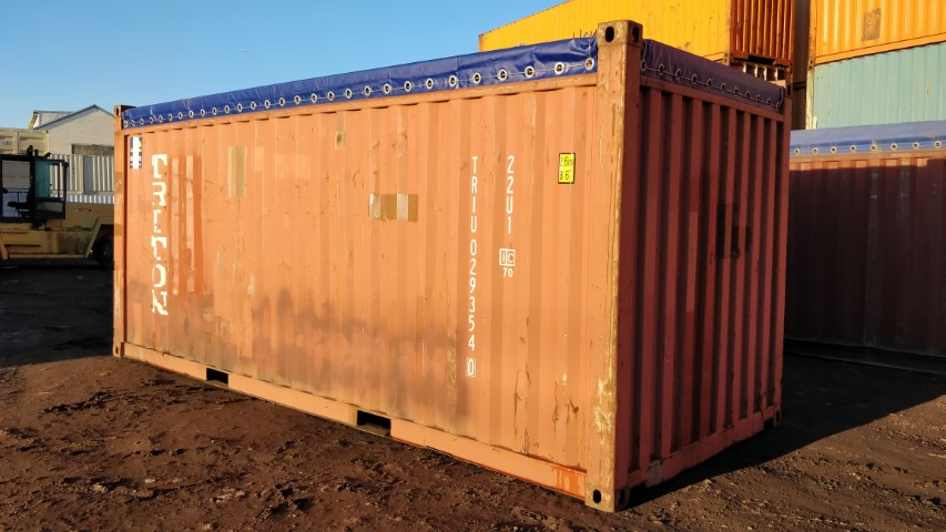 20' Used open soft tarp top container