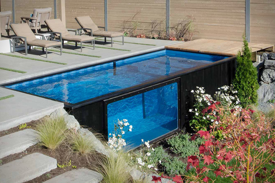 Steel shipping container pool