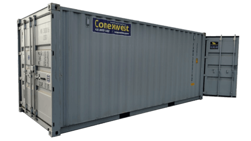 20' Storage container with cargo doors on both ends for rent