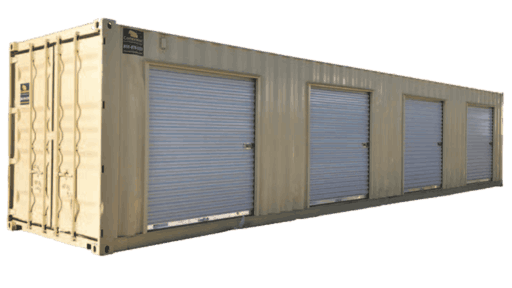 40' Storage container with 4 roll up doors for sale
