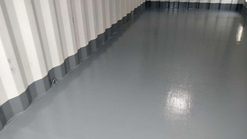 Epoxy floor for shipping container