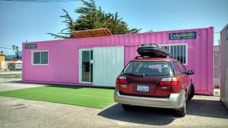 Pink shipping container office
