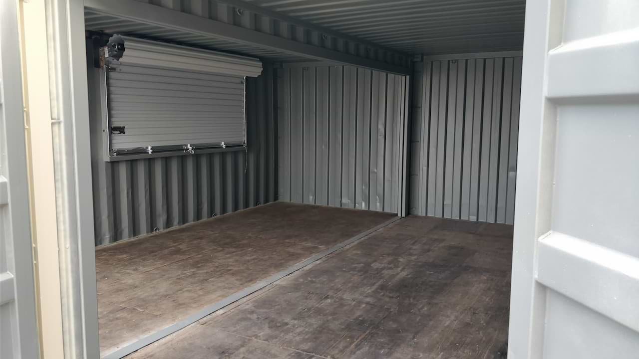 Custom designed joined shipping containers inside for sale