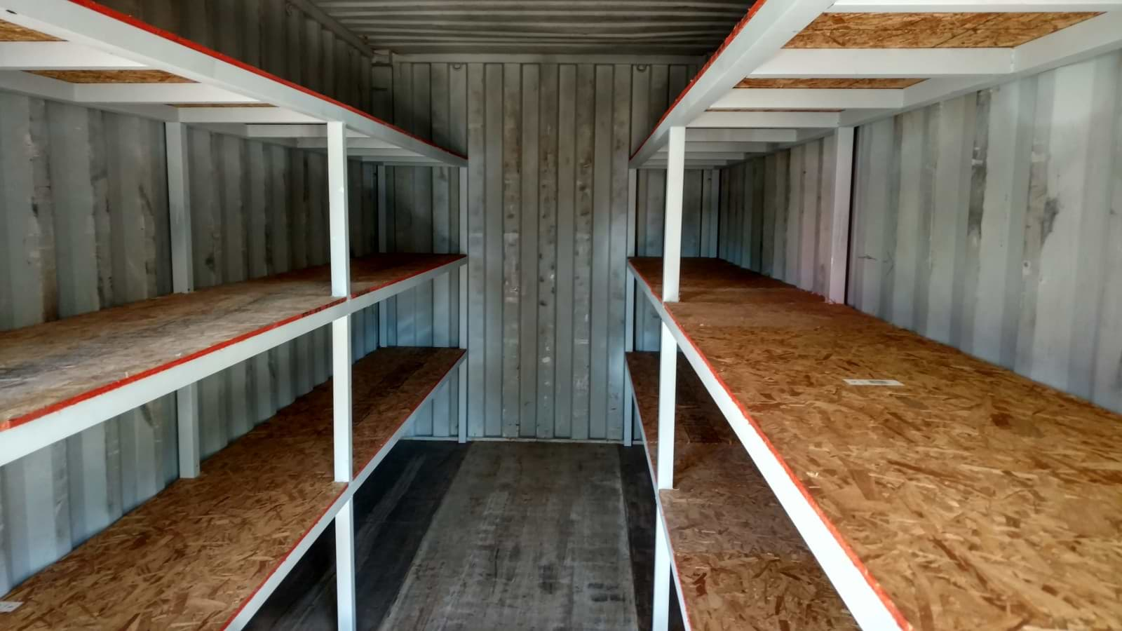 Shelving system for shipping container for sale