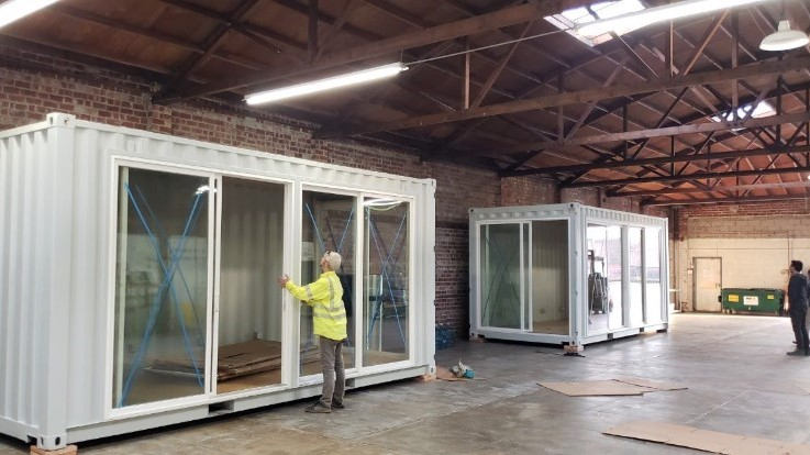 20ft Shipping container office in warehouse