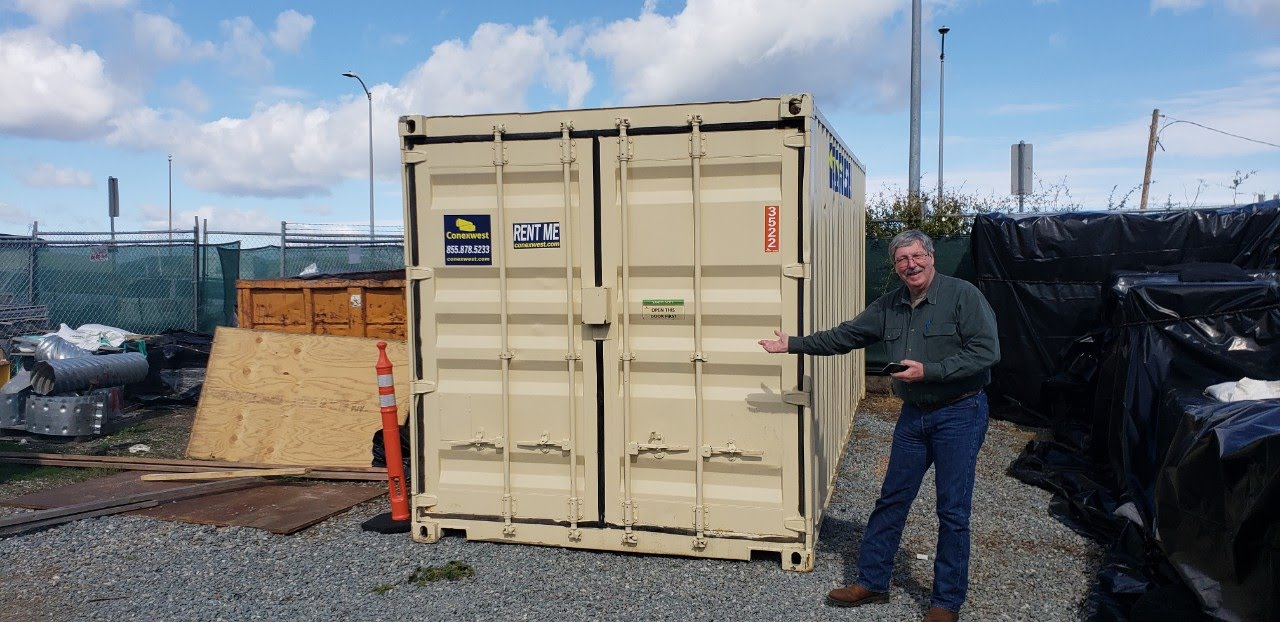 Beige storage container rental