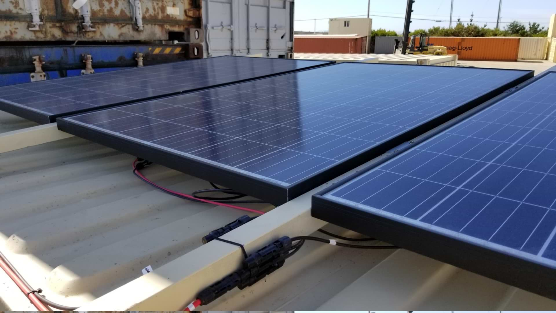 Solar power shipping container solution
