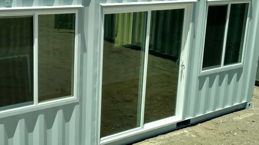 custom sliding glass door for a shipping container