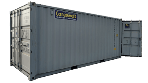 20ft storage container with cargo doors on both ends for rent