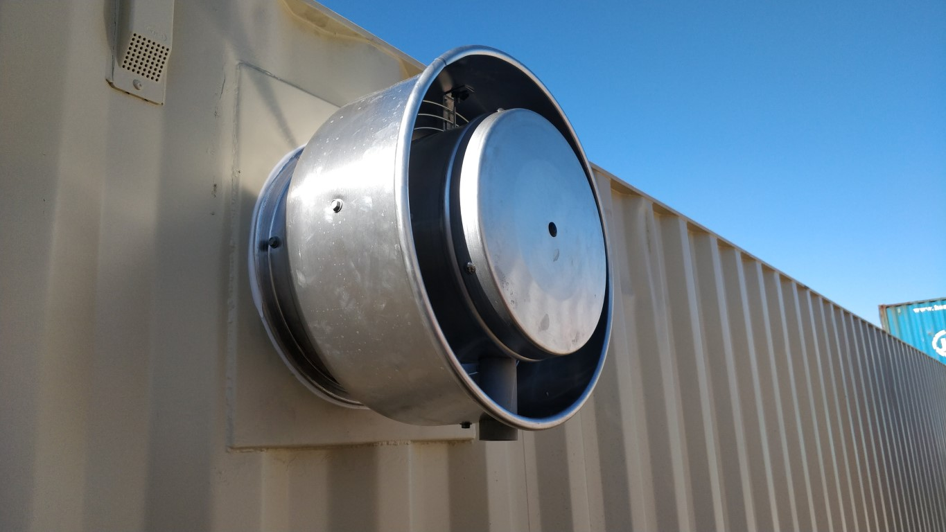 Power louvered vent for shipping containers for sale