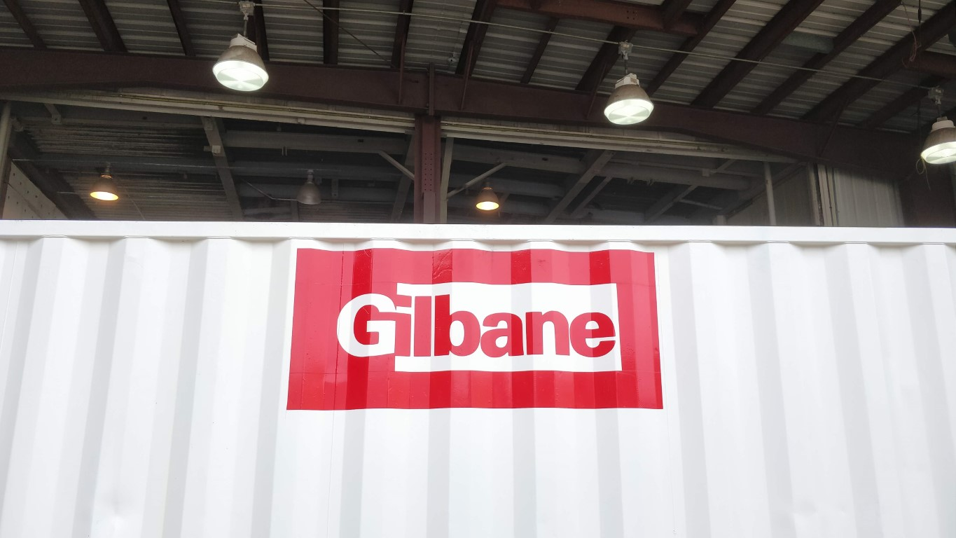 Gilbane vinyl logo on 20ft shipping containers for sale