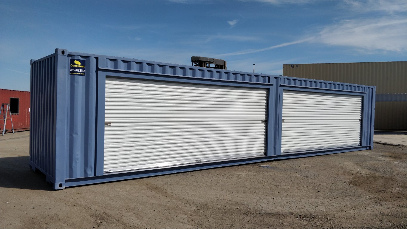 45ft container with 20ft roll up doors