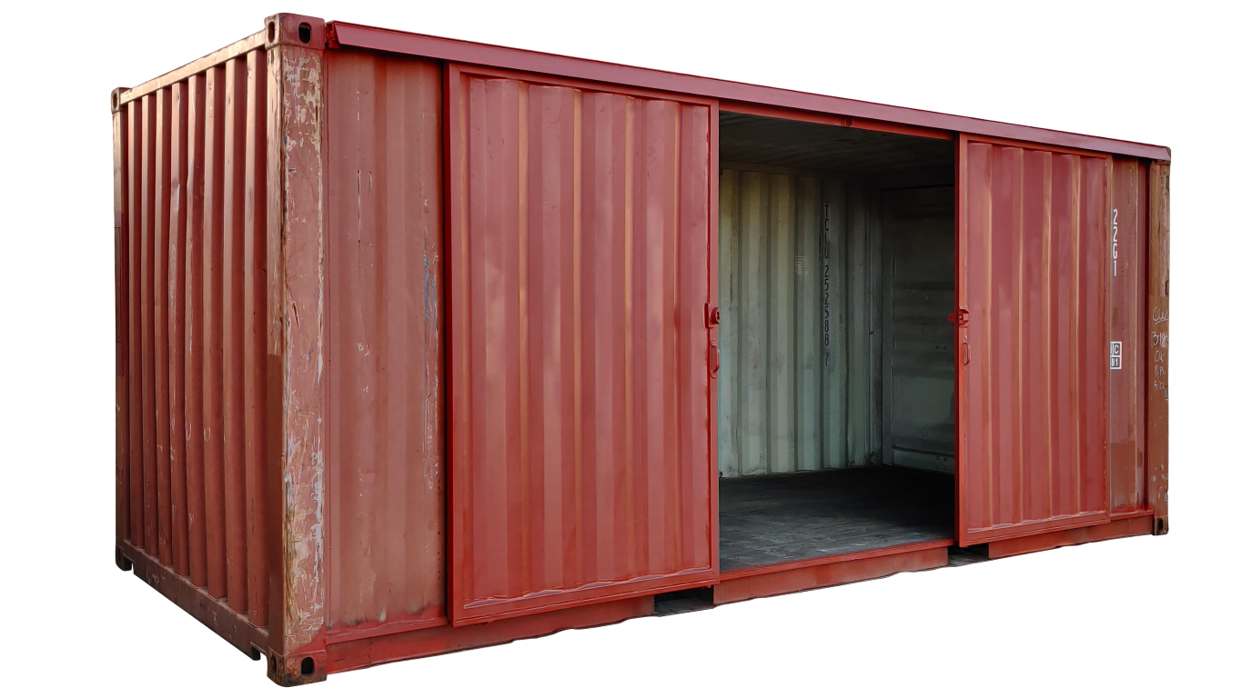 20ft storage container with barn doors