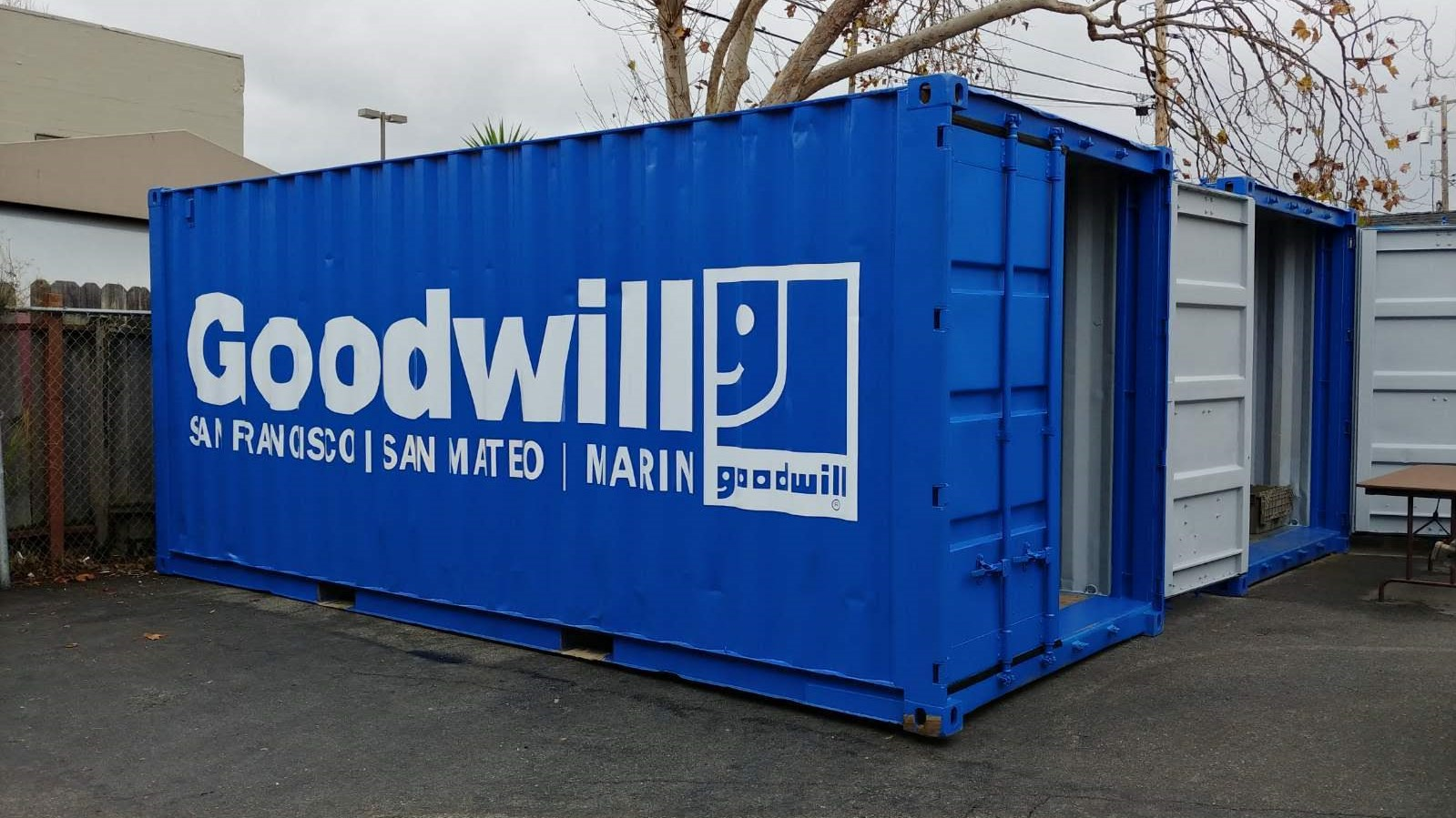 Goodwill blue 20ft shipping container San Francisco San Mateo Marin