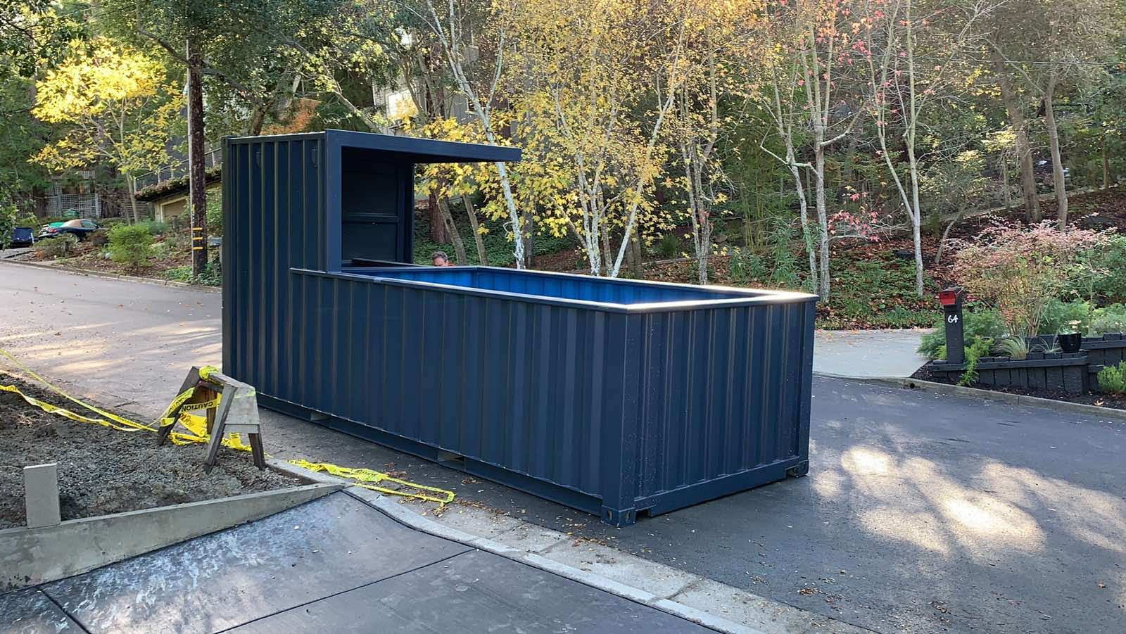 Shipping container pool with bar