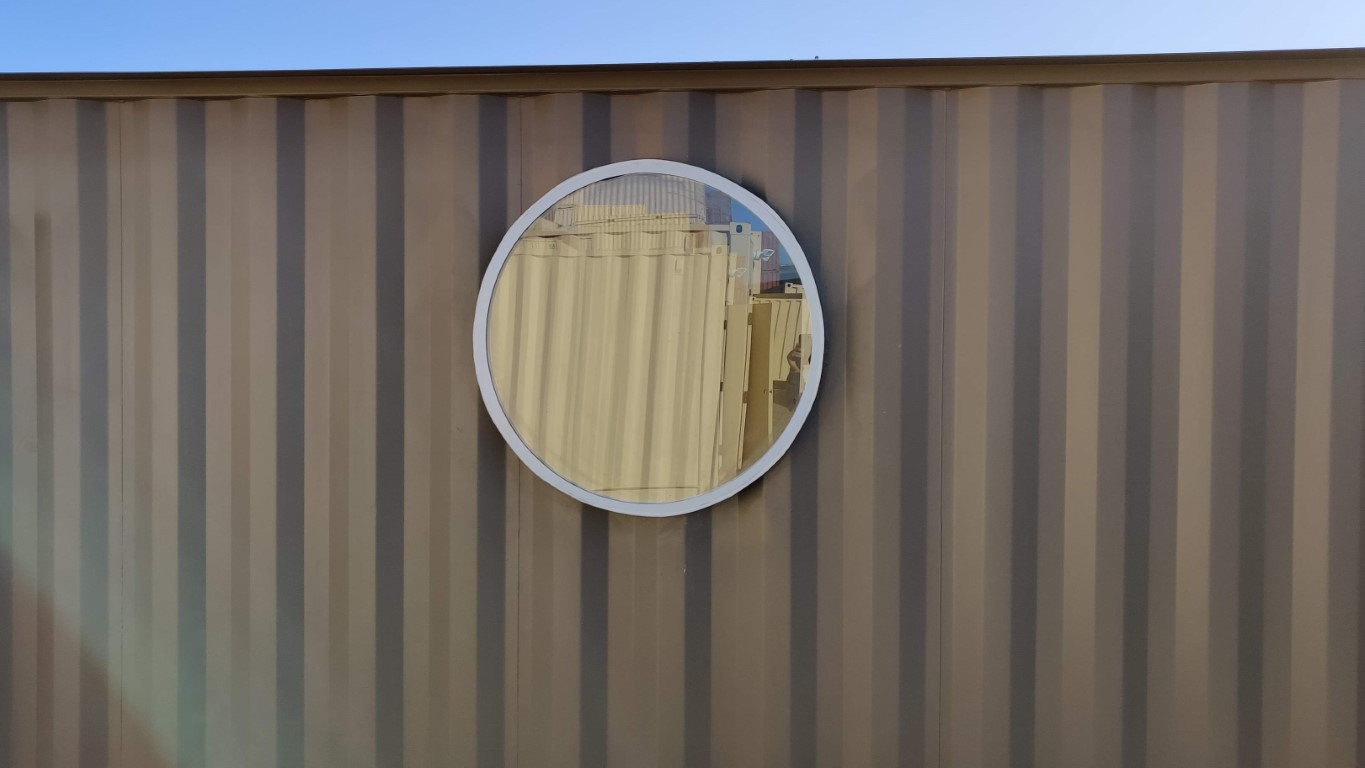 round window in shipping container