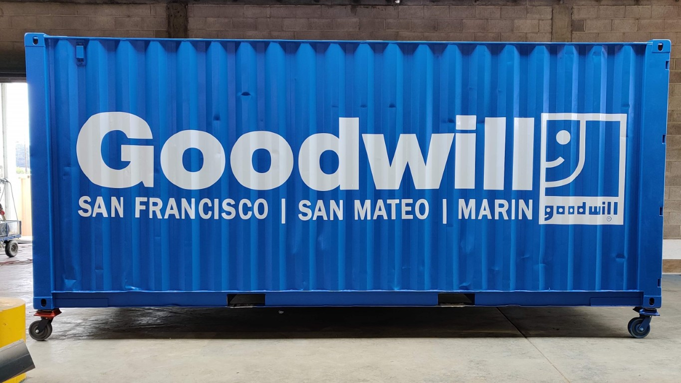 Goodwill shipping container blue sign logo San Francisco San Mateo Marin