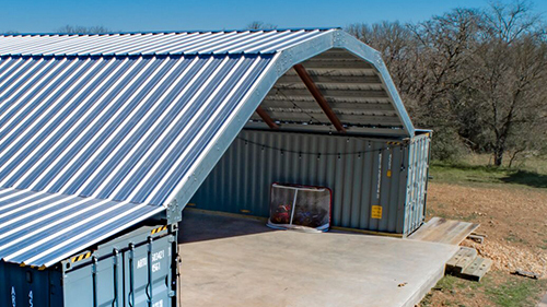 Gambrel style container roof kit