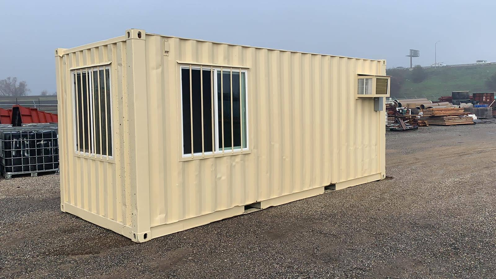 Shipping container office with windows